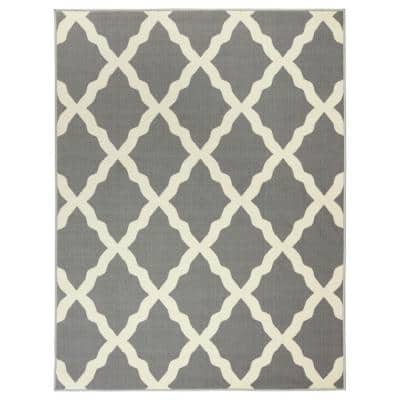 Glamour Collection Contemporary Moroccan Trellis Gray 5 ft. x 7 ft. Kids Area Rug