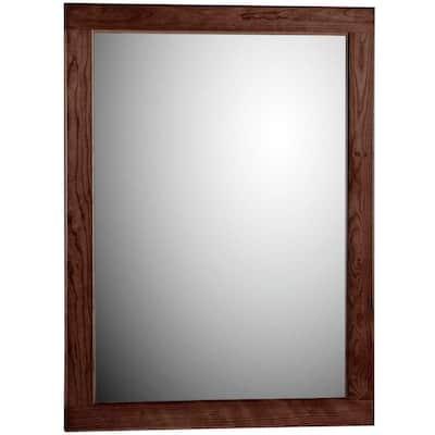 Ultraline 24 in. W x 32 in. H Framed Rectangular Bathroom Vanity Mirror in Dark alder finish