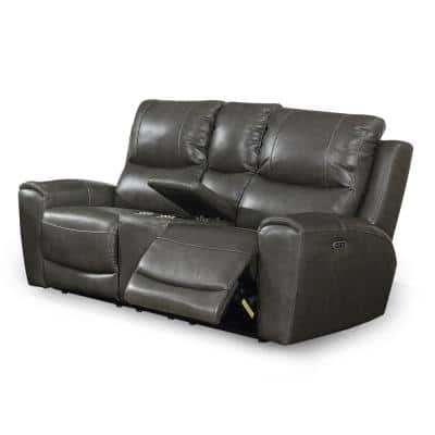 Laurel 2-Seat Grey Power Leather And Polyurethane Power Reclining Console Loveseat