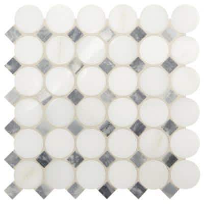 Premier Accents White and Gray Coin 11 in. x 12 in. x 8 mm Stone Mosaic Floor and Wall Tile (0.92 sq. ft./Each)