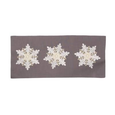0.1 in. H x 16 in. W x 36 in. D Sparkling Snowflakes Embroidered Double Layer Christmas Table Runner