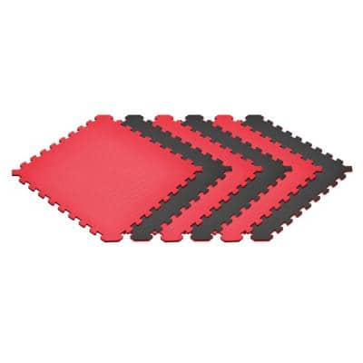 Red/Black 24 in. x 24 in. EVA Foam Truly Reversible Interlocking Tile (18-Tile)