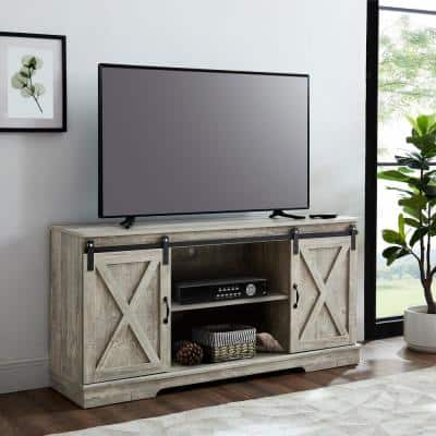58 in. Grey Entertainment Center with Sliding Barn Doors Fits TV's up to 65 in. with 2-Adjustable Open Storage Shelves