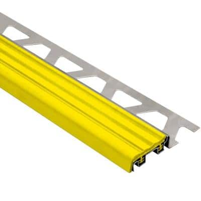 Trep-SE Stainless Steel with Yellow Insert 5/16 in. x 8 ft. 2-1/2 in. Metal Stair Nose Tile Edging Trim