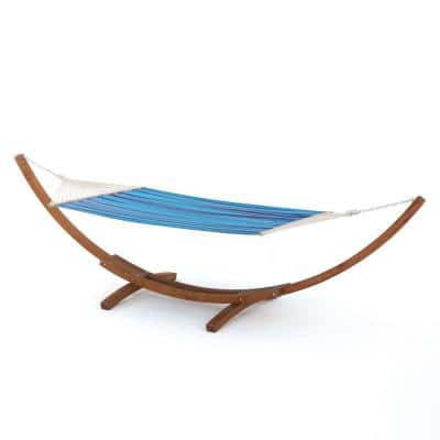 Richardson 13.68 ft. Free-Standing Hammock in Multi-Blue, Red and White Stripe