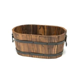 12 in. x 7 in. x 5 in. Small Oval Wooden Planter