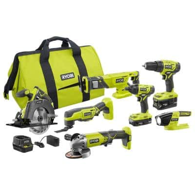 ONE+ 18V Cordless 6-Tool Combo Kit with (2) Batteries, Charger, Bag with 4-1/2 in. Angle Grinder