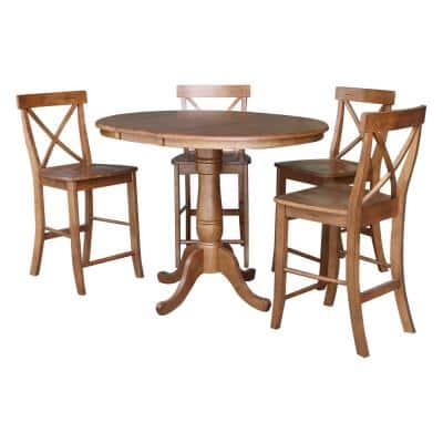 Distressed Oak 48 in. Oval Dining Table with 4-X-Back Counter-Height Stools (5-Piece)