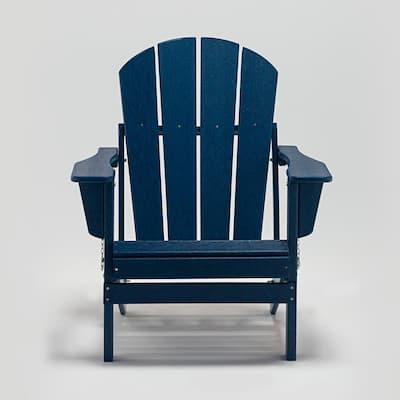 Navy Blue Folding Plastic Adirondack Chair (Set of 2)