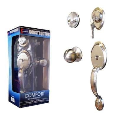 Satin Nickel Comfort Entry Door Handleset