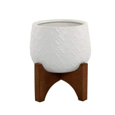 4.8 in. Matte White Indian Ceramic Pot on Stand