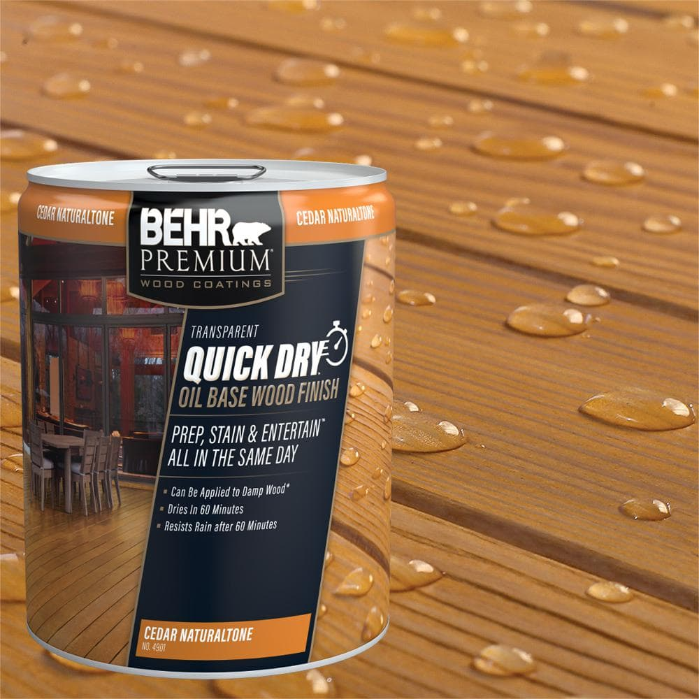 Behr Premium 5 Gal Transparent Quick Dry Oil Base Wood Finish Cedar Naturaltone Exterior Stain 490105 The Home Depot