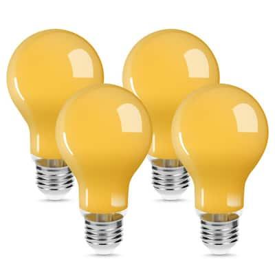 UL Listed 6-Watt, 50-Watt Equivalent E26 Base A19 LED Yellow Bug Light Bulb in Yellow-Colored 2200K (4-Pack)