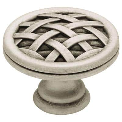 French Ribbon and Reed 1-1/2 in. (38mm) Brushed Satin Pewter Round Cabinet Knob