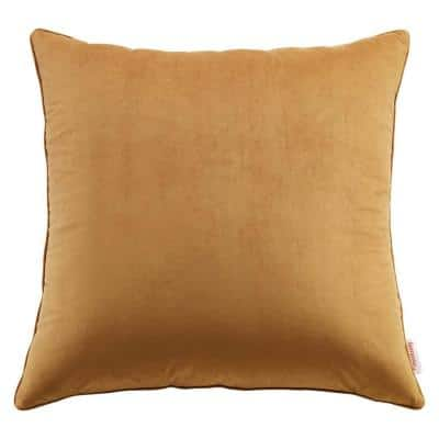 Enhance Cognac Solid French Piping 24 in. x 24 in. Performance Velvet Throw Pillow