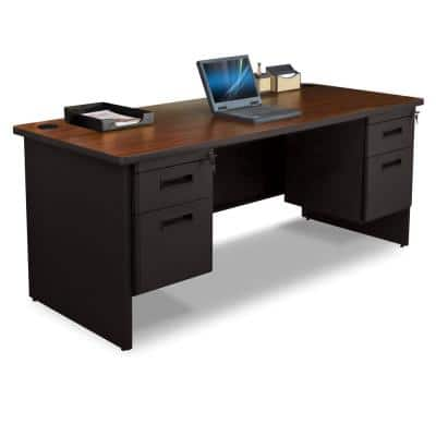 72 in. W x 36 in. D Mahogany Laminate and Black  Double Pedestal Desk