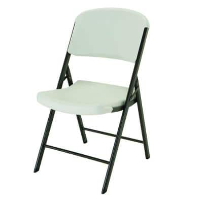 Almond Plastic Seat Outdoor Safe Plastic Folding Chair (Set of 4)