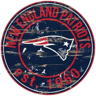 """24"""" NFL New England Patriots Round Distressed Sign"""