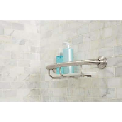 Home Care 16 in. x 1 in. Concealed Screw Grab Bar with Shelf in Brushed Nickel