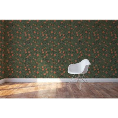 Forest & Orange Fabric Peel & Stick Washable Wallpaper Roll (Covers 36 Sq. Ft.)