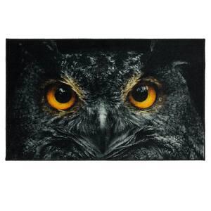 Owl Face Black 2 ft. 6 in. x 4 ft. 2 in. Halloween Indoor Area Rug