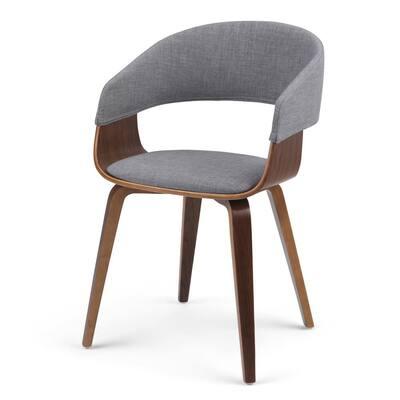 Lowell Light Grey Linen Look Fabric Mid Century Modern Bentwood Dining Chair