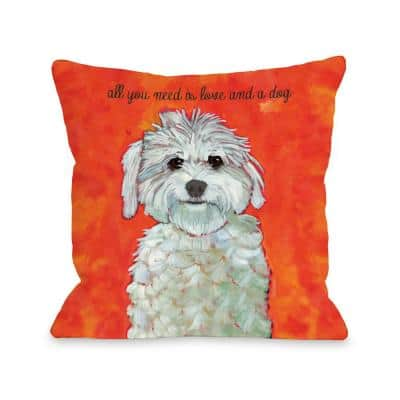 Love and a Dog Red Orange Graphic Polyester 16 in. x 16 in. Throw Pillow