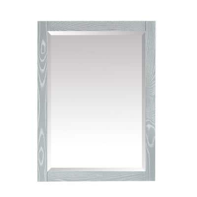 Riley 24 in. W x 32 in. H Framed Rectangular Beveled Edge Bathroom Vanity Mirror in Seal Salt Gray