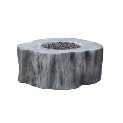 Manchester 42 in. x 39 in. x 17 in. Irregular Round Concrete Propane Fire Pit Table in Classic Gray