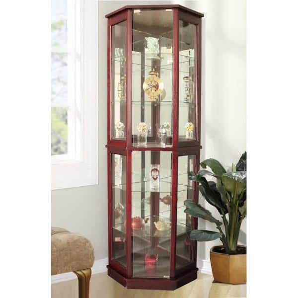 Floor Standing Cherry 5 Sided Lighted, Curio Corner Cabinet