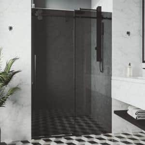 Elan 56 to 60 in. W x 74 in. H Sliding Frameless Shower Door in Matte Black with Black Tinted Glass