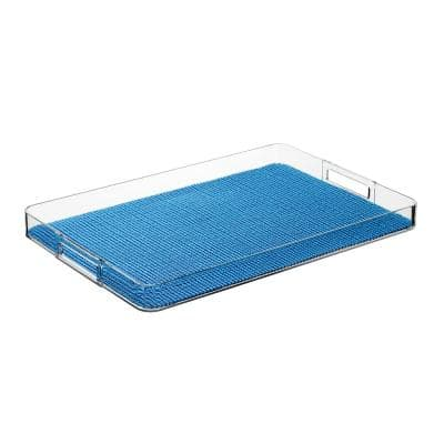 Fishnet Process Blue 19 in.W x 1.5 in.H x 13 in.D Rectangular Lucite Serving Tray