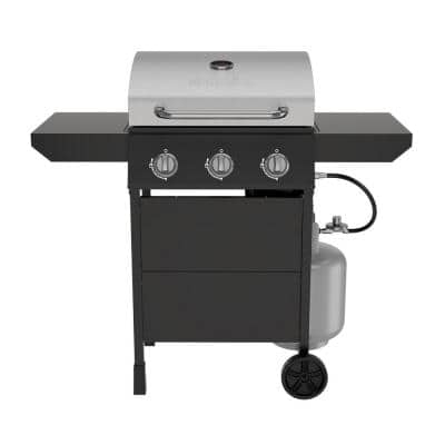 3-Burner Propane Gas Grill in Black and Stainless Steel Main Lid