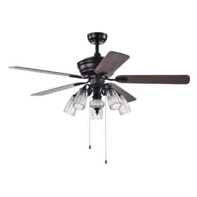 52 in. Indoor Black Ceiling Fan with Light Kit