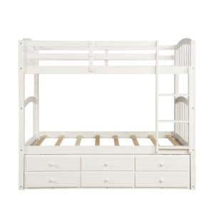 White Twin over Twin Bunk Bed with Twin Size Trundle and 3-Drawers