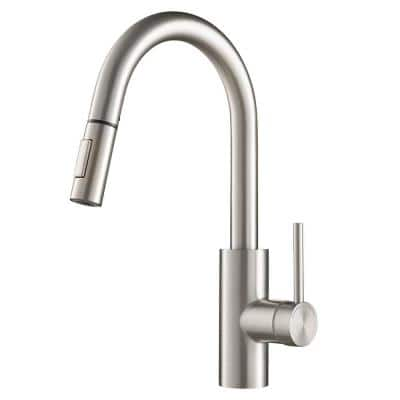Oletto Single Handle Pull-Down Kitchen Faucet with Dual-Function Sprayer in All-Brite Spot Free Stainless Steel