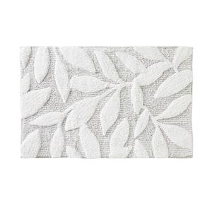 Pencil Leaves White 30 in. W x 20 in. L 100% Cotton Bath Rug