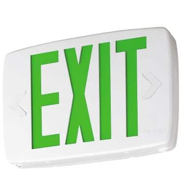 Contractor Select LQM Series 120/277-Volt Integrated LED White and Green Exit Sign