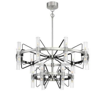 Mass Transit 30-Light Brushed Nickel and Sand Coal Wagon Wheel Chandelier with Clean Ribbed Glass Shades