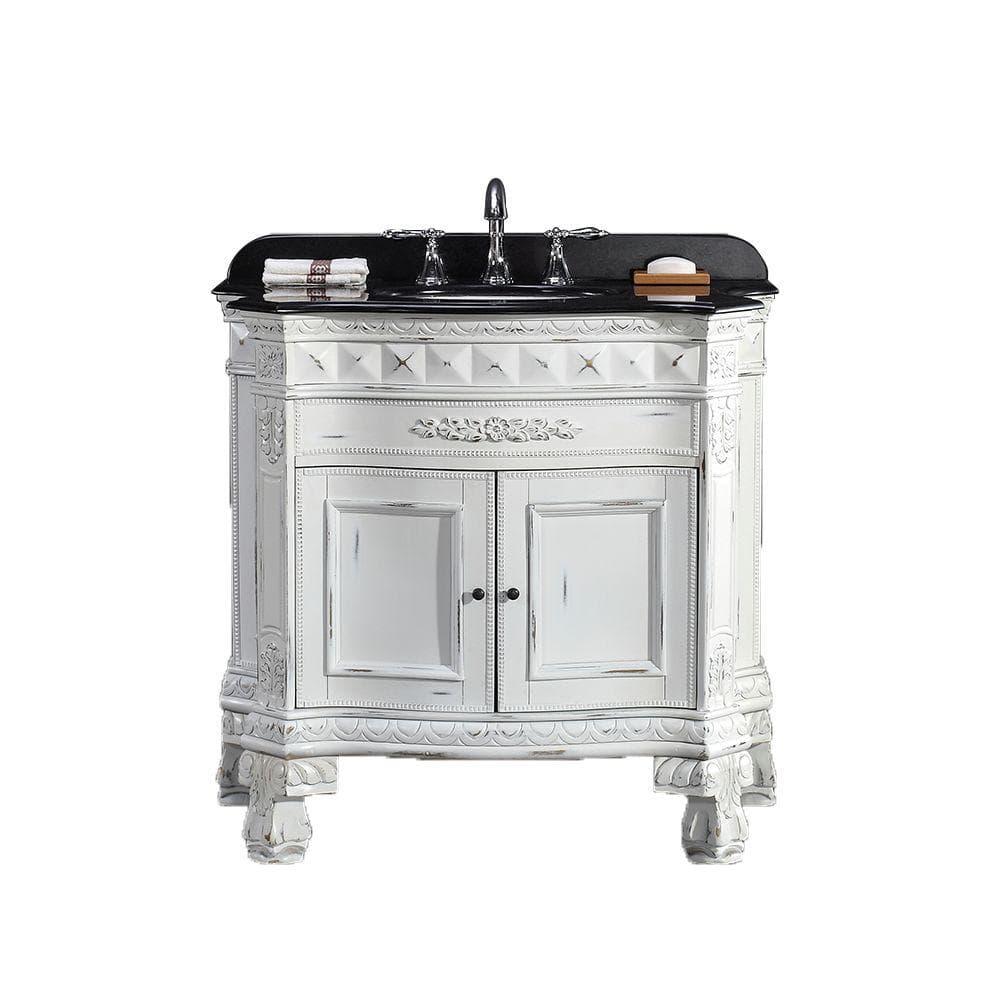Antique White With Granite Vanity Top, 36 Inch Antique White Bathroom Vanity