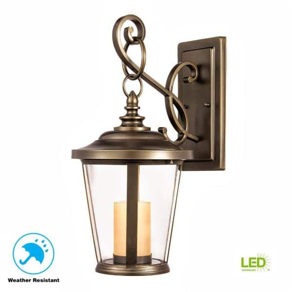 Home Decorators Collection Bellingham Oil Rubbed Bronze Led Outdoor Wall Lantern Sconce With Clear Glass And Amber Glass Candle Hd 1197 Led The Home Depot