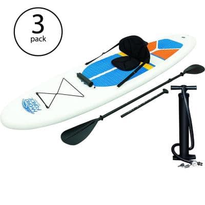 BW Hydro-Force White Cap Inflatable SUP Stand Up Paddle Board (3-Pack)