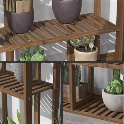 36 in. W x 8 in. D x 56 in. H Brown Bamboo 7-Tier Indoor Outdoor Plant Stand