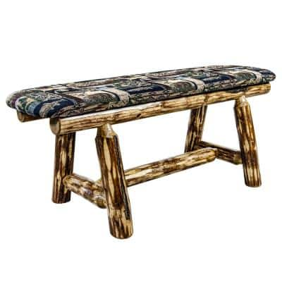 Glacier Country Collection 18 in. H Brown Wooden Bench with Woodland Pattern Upholstered Seat, 45 in. Length
