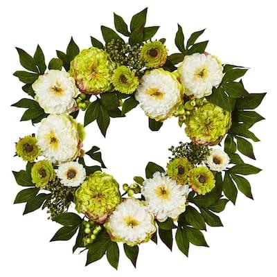 24 in. Peony Mum Wreath