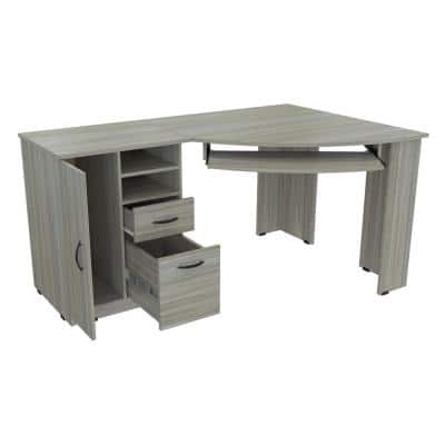 59.45 in. Smoke Oak Corner 2 -Drawer Computer Desk with Keyboard Tray