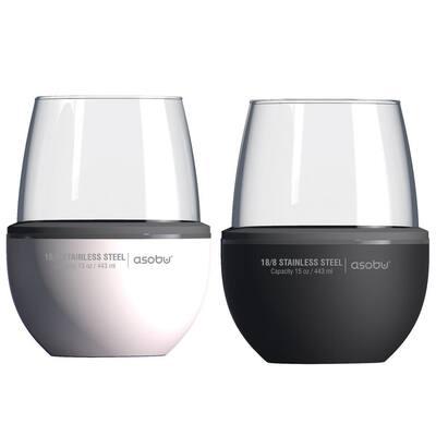 2-Piece Black & White Insulated Wine Kuzies