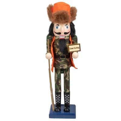"""15 in. """"Gone Hunting"""" Wooden Christmas Nutcracker in Fatigues"""
