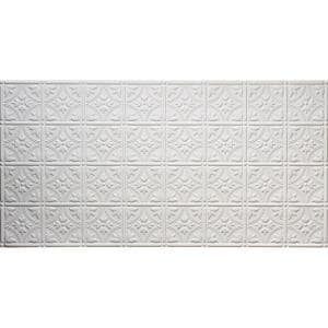 Dimensions 2 ft. x 4 ft. Glue Up Tin Ceiling Tile in Matte White