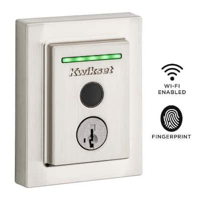 Halo Touch Satin Nickel CNT Fingerprint WiFi Elec Smart Lock Deadbolt Feat SmartKey Security with San Clemente Handleset